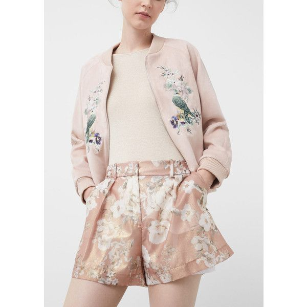 Floral Print Shorts (€19) ❤ liked on Polyvore featuring shorts, grapefruit, zipper shorts, floral printed shorts, mango shorts, floral shorts and shiny shorts
