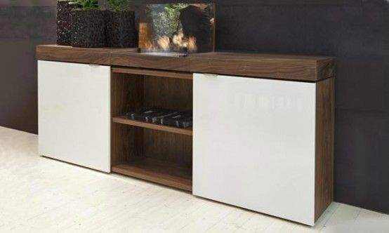 Walnut Sideboard with Integrated Bioethanol Fireplace – Grace by Shulte Design | DigsDigs