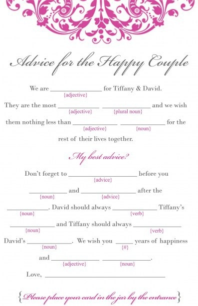 marriage advice game bridal shower