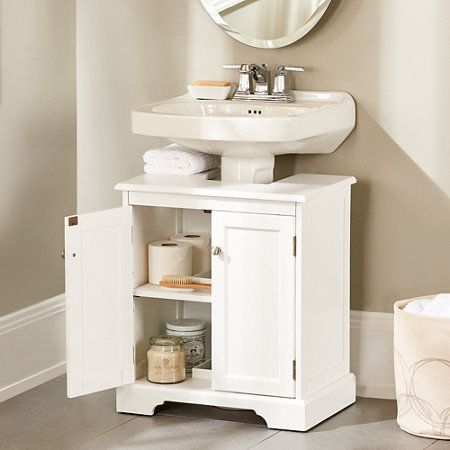 Best 25 pedestal sink storage ideas on pinterest - Bathroom vanity under sink organizer ...