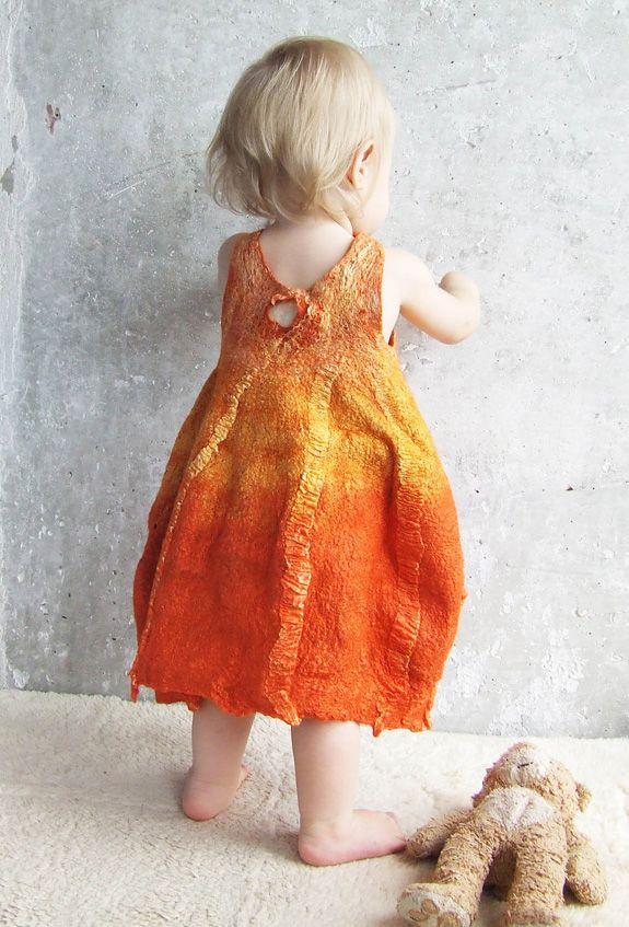Nuno-felted baby pumpkin dress