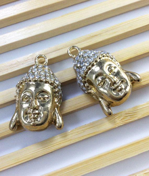 5 pcs gold plating rhinstone Buddha charms for por acejewellery