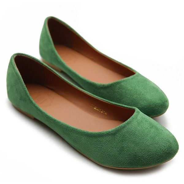 Ollio Women's Ballet Shoe Comfort Light Faux Suede Low Heel Multi... ($17) ❤ liked on Polyvore featuring shoes, flats, green, fairies, green ballet flats, green flats, green flat shoes, flat pumps and skimmer flats
