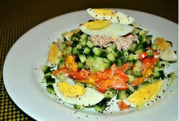 Рецепт салата с тунцом и манго