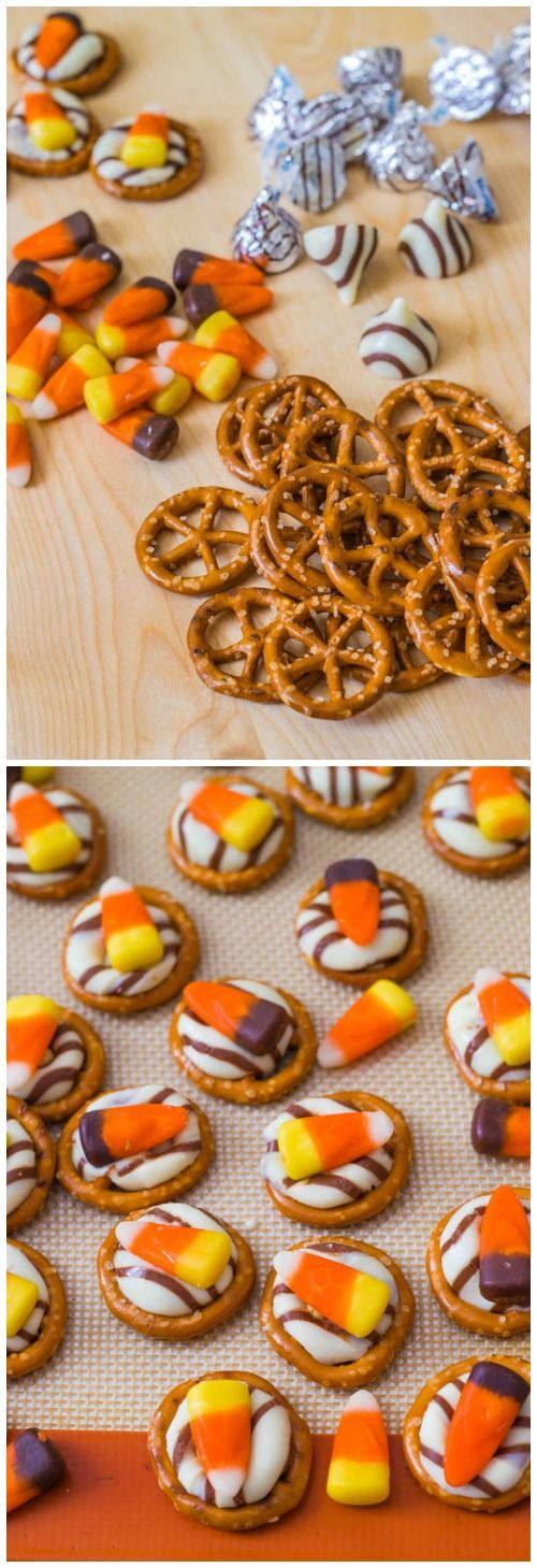 These salty sweet candy corn pretzel treats are so simple to make!
