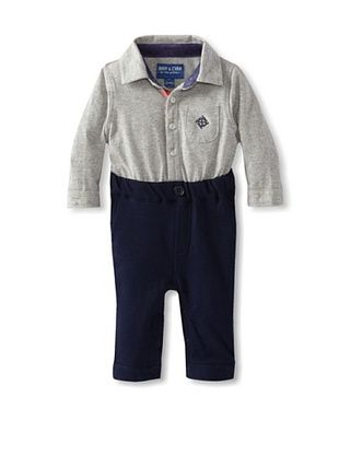 57% OFF Andy & Evan Baby-Boys Infant My 1st Andy & Evan Playsuit (Pastel Grey/Navy)