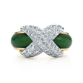 Tiffany & Co. Schlumberger® Pavé X ring in 18k gold with green enamel and diamonds in platinum. #TiffanyPinterest