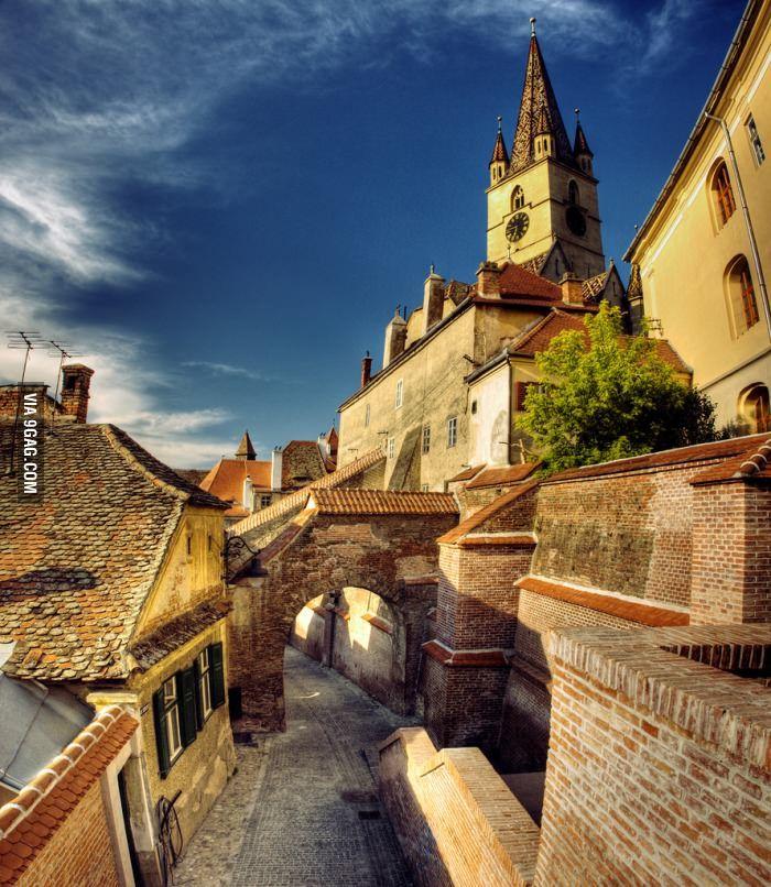 Street in a medieval Romanian town, Sibiu.