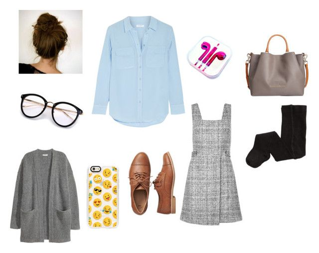 """""""Evelyn's private school uniform"""" by eve-steward on Polyvore featuring Equipment, New Look, Kofta, Gap, H&M, Casetify, PhunkeeTree and Dooney & Bourke"""