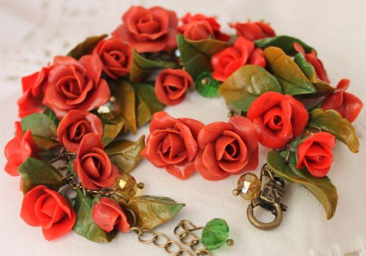 Bracelet & Earrings Jewelry Set / Flowers Red Roses / Handmade #Handmade