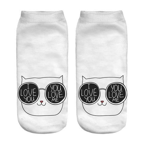 Cute In Love Cat Socks - Two Stupid Cats  Love is mutual between You and Your Cat-don't be afraid of it, say it with a sock :)  Material: Mixed Cotton Size: 19 cm (stretch to fit)
