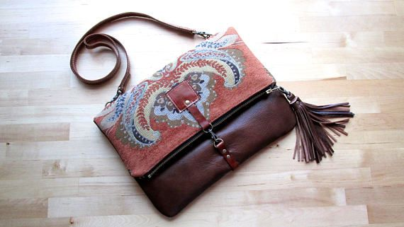 Carpet leather bag Large Leather foldover clutch leather