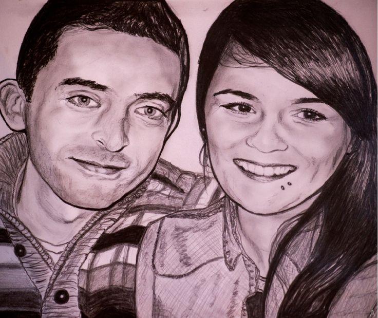 Norway couple pencil portrait