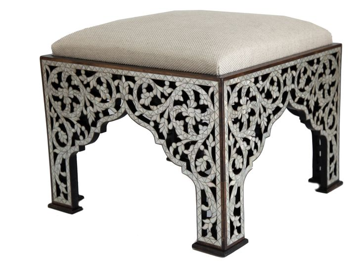 Ottoman of solid wood inlay with mother of pearl Designed by Nevine