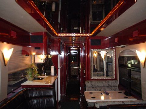 photos of tour bus interiors | custom prevost conversion coach picture