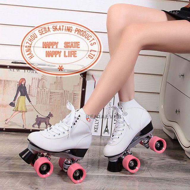 Renee patins à roulettes Double ligne patins blanc Double modèles européens et américains de femelles adultes F1 Racing 4 roues chaussures à roulettes