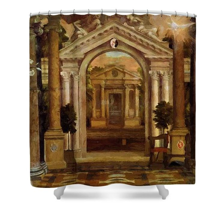 The Shower Curtain featuring the painting The Annunciation 1578 by Veronese Paolo