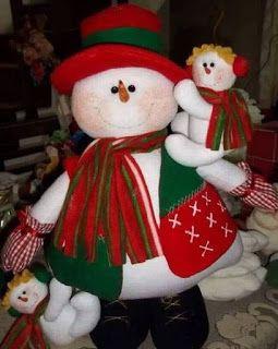 Bonitos muñecos navideños de santa y muñeco de nieve con moldes