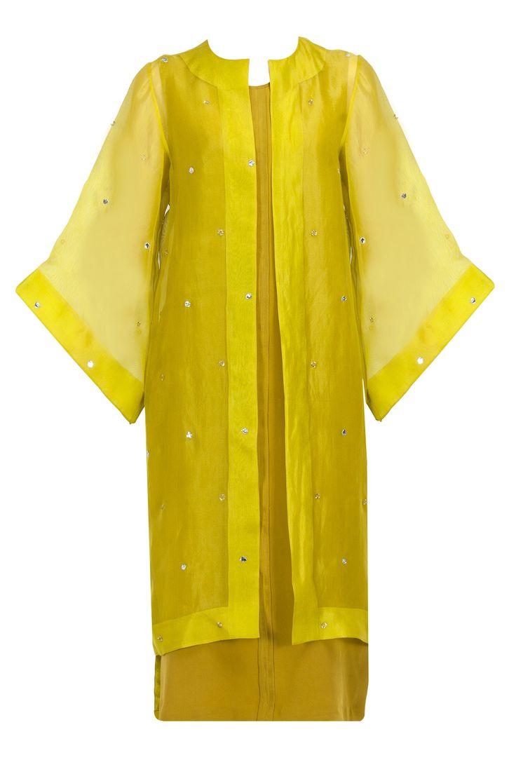 Olive green column shift dress with organza robe BY NEETA LULLA. Shop the designer now at: www.perniaspopups... #indian #neetalulla #india #designer #ethnic #amazing #beautiful #amazing #gorgous #perniaspopupshop #happyshopping