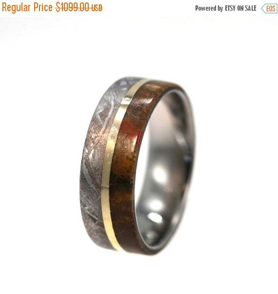 Wedding Sale Meteorite and Dinosaur Bone Ring by jewelrybyjohan