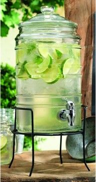 Cylinder Ribbed Glass Beverage Dispenser on Iron Rack - Cups And Glassware - Classic Hostess