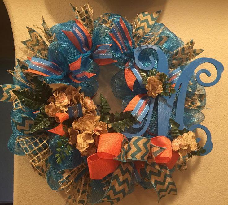 Monogram and Flowers Tiffany Blue, Salmon and Burlap Wreath