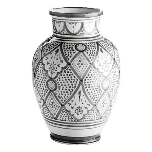 Håndmalt grå keramikkvase traditional – VakreRom.no