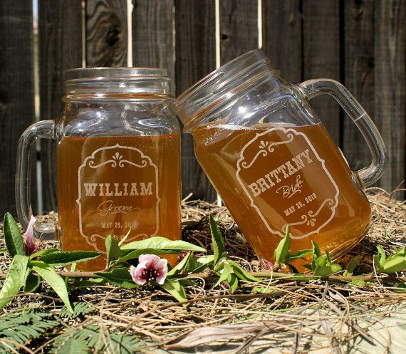 Toasting GlassesEtched Mason Jar Glasses 16 ounce by ScissorMill, $25.00