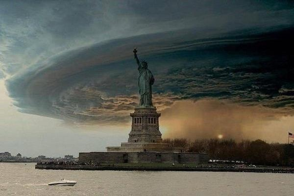 Hurricane Sandy circles past the Statue of Liberty