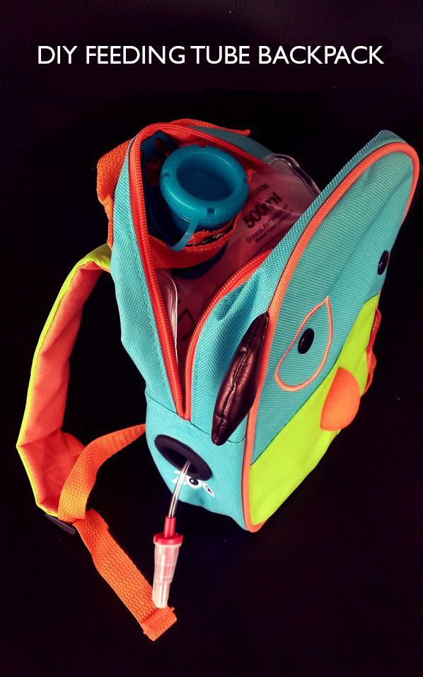 Found on Hellobee.com! diy feeding tube backpack