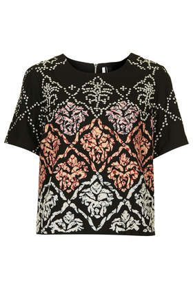 Embroidered Eyelet Tee Topshop