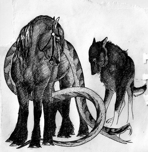 Loki's children: Sleipnir, Jormungandr, and Fenrir (Hel is not shown)