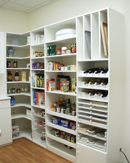 Different ideas of how to partition our pantry remod - I like the idea of a couple shelves for the wine and the top cabinet partitioned for baking pans. Yup.