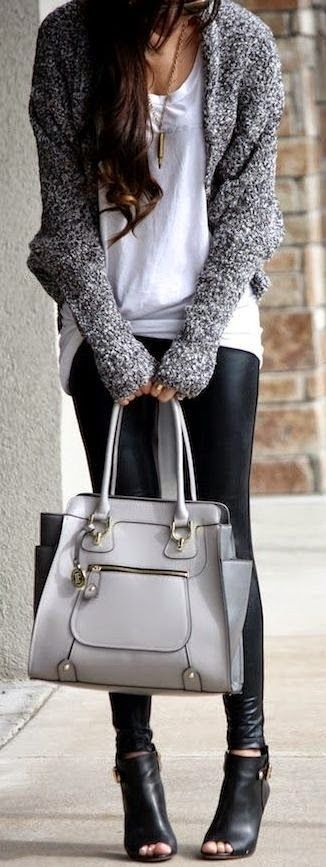 Adorable Gray Cardigan with White T-Shirt, Accessories, Leather Tights, Black Modern Heeled Boots and Amazing Handbag