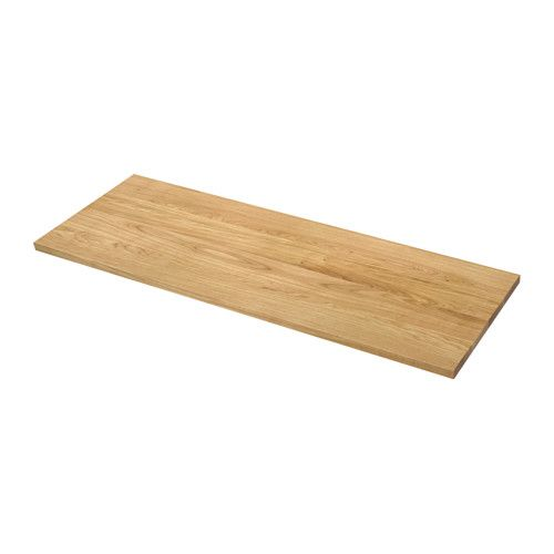 MÖLLEKULLA Countertop IKEA Good environmental choice, because the method of using a top layer of solid wood on particleboard is resource-efficient.