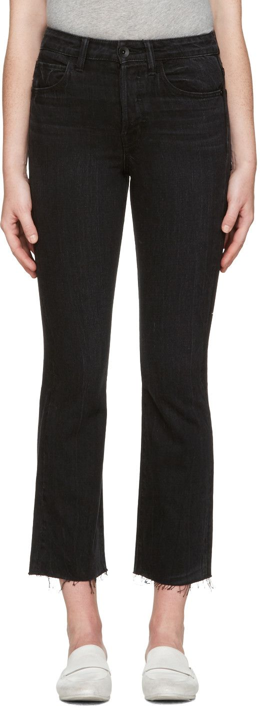 HELMUT LANG Black High Rise Crop Raw Jeans. #helmutlang #cloth #jeans