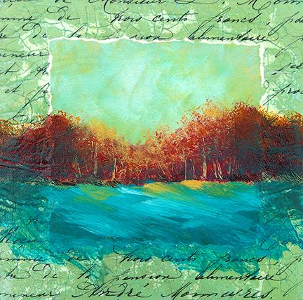 """Bob Pennycook - I started by creating a monoprint using a 6"""" x 6"""" Gelli Plate and Golden Open Acrylics. You can see the print in the image. Search in the middle for the two rough vertical white lines and the horizontal white line. The sky is a combination of yellow, green, blue and white. The trees are red and orange and blue with some scratched trunks. The land was the same color as the sky...but clearly I changed it!"""