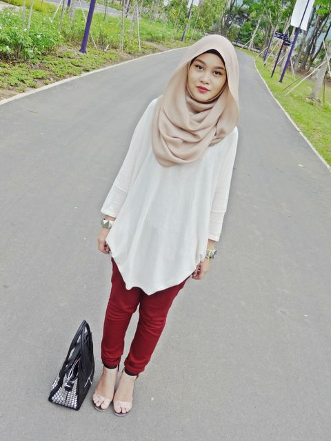 Like hijab style... Hmm, with burgundy pleated skirt.