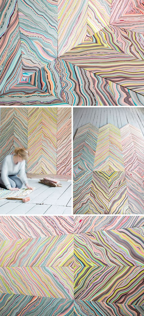 art ... on the FLOOR! marbled wood by pernille snedker hansen <3