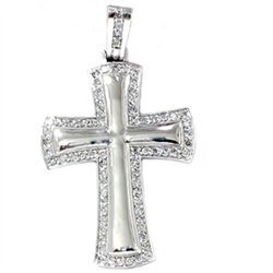 This popular diamond cross pendant features 73 round brilliant cut natural diamonds. All diamonds are set in solid 14k white gold. 3.05ct total diamond weight.  $2249