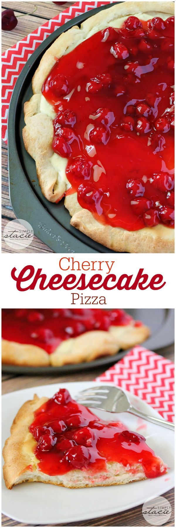 Cherry Cheesecake Pizza - sink your teeth into a creamy cheesecake layer followed by sweet cherry filling. One of the BEST dessert pizzas EVER!