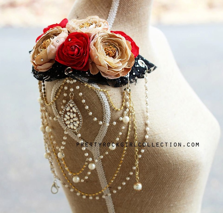 One sided Epaulette Shoulder Pad Made with  Silk Flowers- one left.. $160.00, via Etsy.