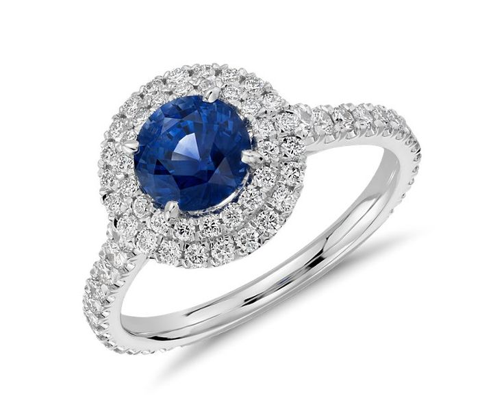 Sapphire and Diamond Pavé Double Halo Ring in 18k White Gold (1.28 ct)   Blue Nile