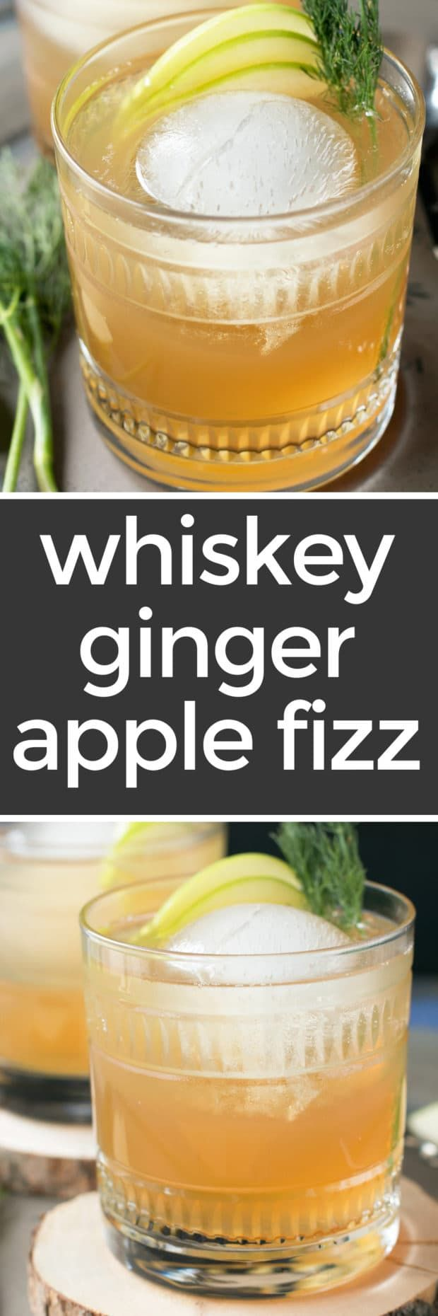 Craving a cocktail with a little extra depth this week? A Whiskey Apple Ginger Fizz always does the trick! The smooth and tart combination of whiskey, apple juice and ginger beer will tickle your taste buds, but it's the surprise ingredient of dill that'll have everyone begging for a second round. Whiskey Apple Ginger Fizz | cakenknife.com #cocktail #happyhour