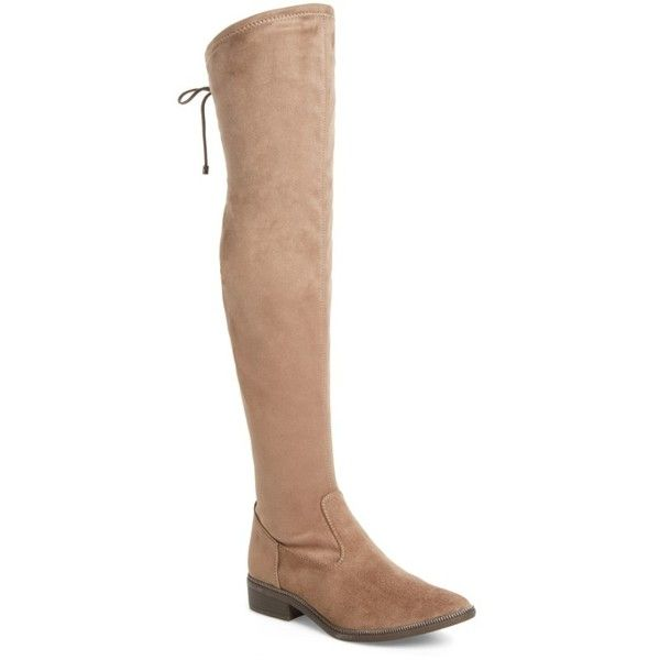 Women's Tamaris Phanie Over The Knee Stretch Boot ($145) ❤ liked on Polyvore featuring shoes, boots, dune fabric, over-knee boots, thigh-high boots, over the knee boots, stretch over the knee boots and above the knee boots