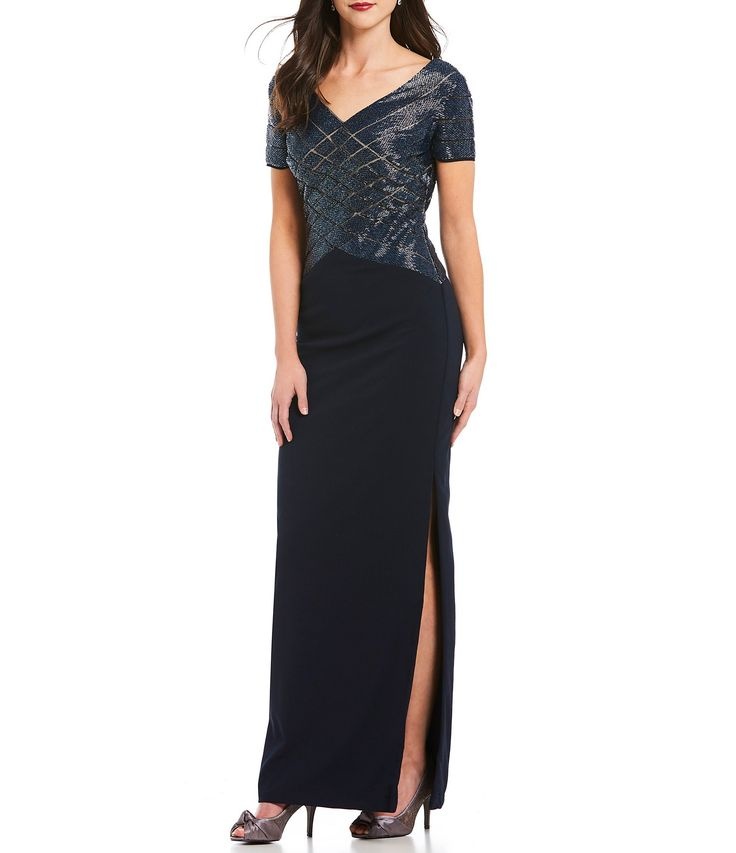 Adrianna Papell V Neck Beaded Gown #Dillards