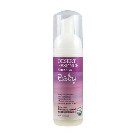Desert Essence Baby 2 In 1 Gentle Foaming Hair and Body Cleanser Oh So Clean Fragrance Free 5.7 fl oz, White