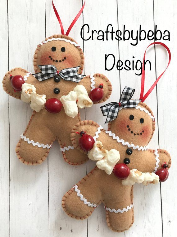 Gingerbread Plush Figure Door Hanger PEPPERMINT CANDY Christmas Tree Ornament