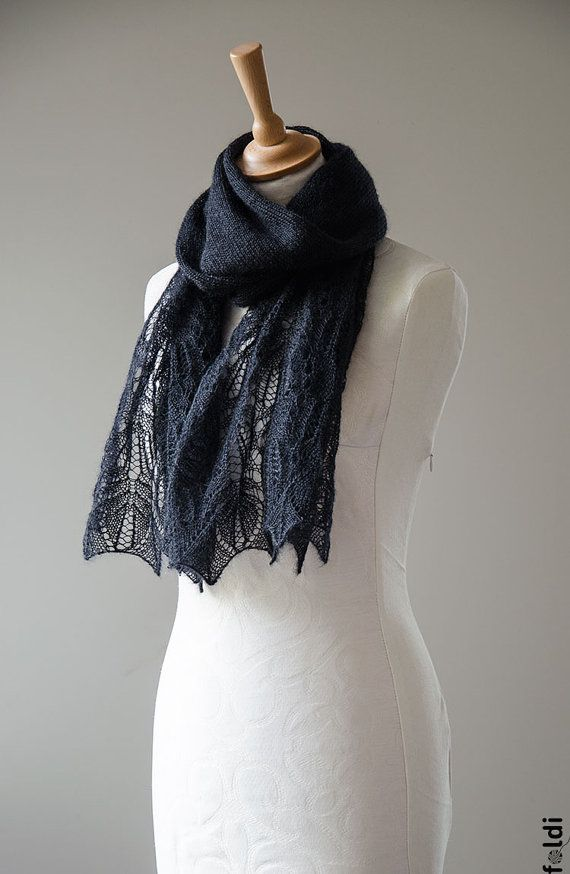 Knitted lace scarf silk and mohair lace scarf lace stole от foldi