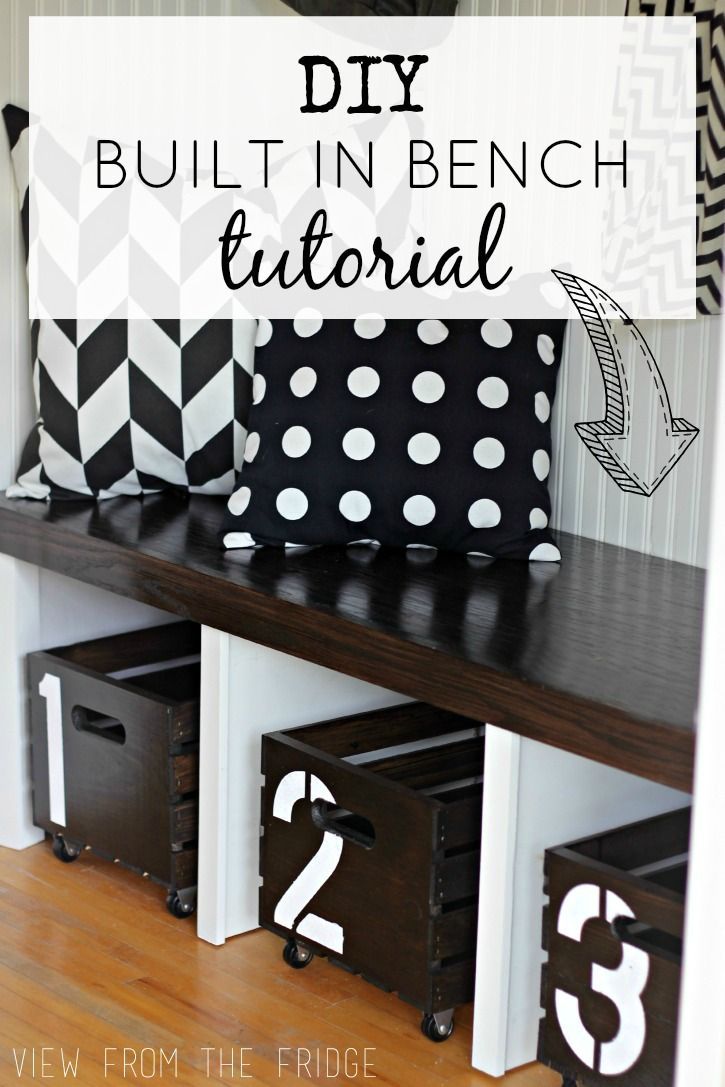 DIY Built In Bench Tutorial  |  Via View From The Fridge - love the wood creates with numbers that slide out
